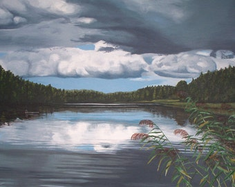 Scandinavian Lake, acrylic painting on canvas