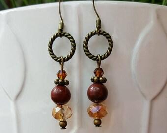 Red Jasper and Crystal Earrings