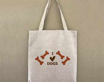 Custom Tote Bag I Love Dogs Animal Lovers Customizable Personalized Gift For Her Gift For Him Farmers Market Shopping Bulk