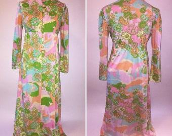 Vintage 1960s 60s Womens XXsmall Xsmall Knit Psychadelic Groovy MOD Maxi Dress Empire Waist Button Down Gown