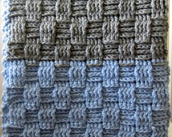 Chunky Crochet Baby Blanket in Baby Blue and Light Grey