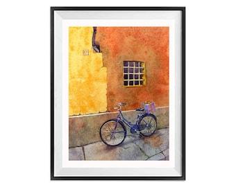 Aquarelle vélo estampes, tirages d'Art vélo, vélos, art fenêtre windows italiens, art mural vélo, fenêtres, Orange murale, art, paysage urbain