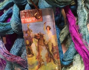 Wild West Show Vintage Western Poster Glass Tile Pendant on upcycled mermaid blue silk chiffon sari ribbon