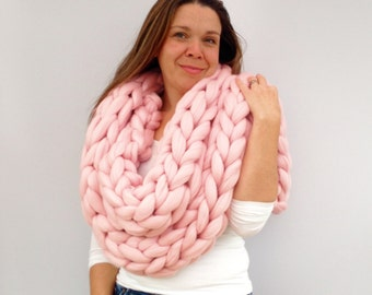 Giant knitted Scarf, 70+ colours Giant Extreme Infinity chain scarf, Super chunky  bulky