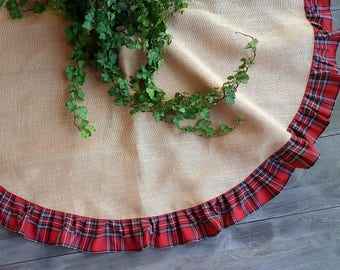 Burlap and plaid tree skirt, ruffled burlap tree skirt, rustic tree skirt