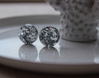 Chunky silver 12mm glitter acrylic laser cut statement stud earrings - hypoallergenic posts