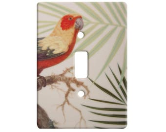 Tropical Parrot & Palms Ceramic Wall Floater Light Switch - Single
