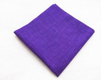 Men's Pocket Square - Purple Crosshatch