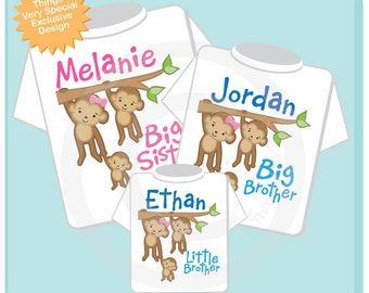 Sibling Monkey Shirt Set, Set of Three, Big Sister Shirt, Big Brother, Little Brother, Personalized Shirt or Onesie (03272014b)