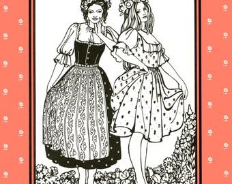 Folkwear Austrian Dirndl Dress / Jumper, Blouse and Apron Sewing Pattern 123 size 8-16 German, Swiss Style