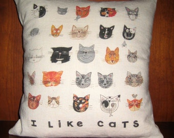 I Like Cats Linen Cotton Throw Pillow Cover 14X14