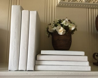 Items similar to White Painted books, White Book Decor, Mantle ...