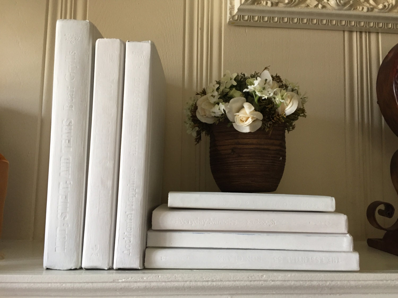 Holiday Decor Pure white books White Book Decor Hamptons