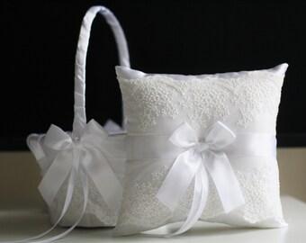 White Ring Bearer Pillow, White Flower Girl Basket, Lace Wedding Pillow, White Wedding Basket, White Ring Holder, Wedding Ring Pillow Basket