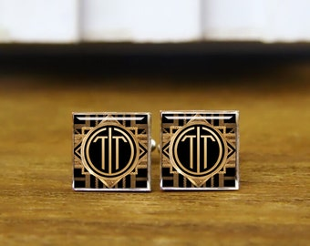 Initials Cufflinks, 2 Letters, Monogram Cufflinks, Round Or Square Cufflinks & Tie Clips, Groom, Groomsmen Gift, Personalized Wedding Gifts