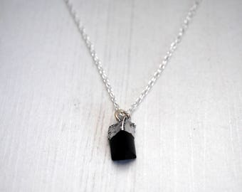 Black Tourmaline Pendant, High Grade Black Tourmaline Necklace, Soldered Tourmaline Necklace, Crystal Jewelry, Cornwall UK