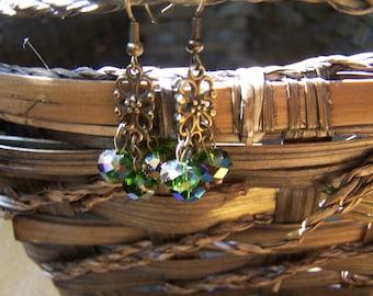 Sparkling Green Chandelier Earrings