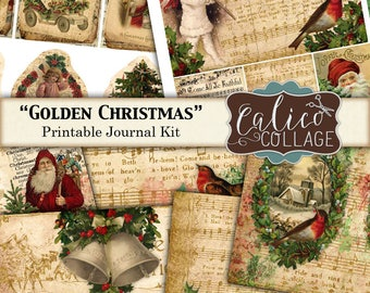 Junk Journal Kit, Golden Christmas, Printable, Journal Pages, Digital, Christmas Ephemera, Vintage Holidays, Printable Paper, Smash Book
