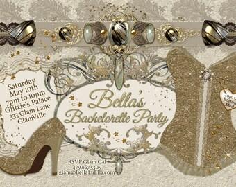 Bachelorette Party Invitation, Lingerie Shower, Corset Invitation, Burlesque Invitations, Ladies Night Out