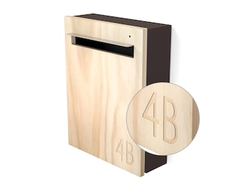 Modern Mailbox - Javi Custom Wall Mount Letterbox - Charcoal Aluminium Body, Stainless Steel Visor and Hardware + Timber front.