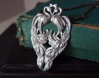 Double Peacock necklace--- in aged sterling silver plated brass