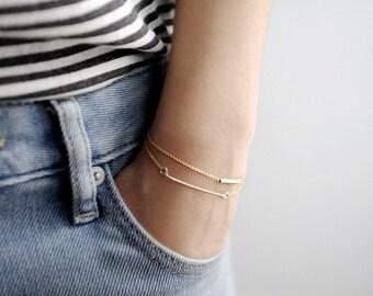 Minimalist Gold Bracelet Set - Dainty Gold Bar & Gold Tube Bracelets - Set of Two - Gift For Her - Simple Minimalist Jewelry LITTIONARY