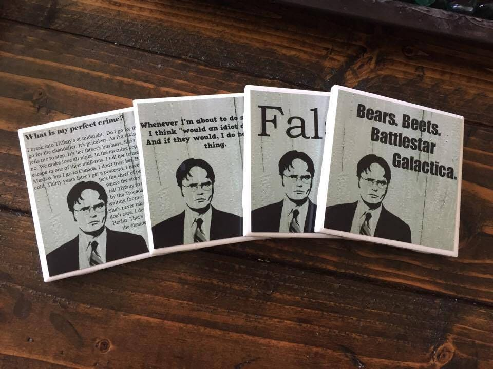 The Office Coasters Dwight Schrute Set Of 4 Comedy