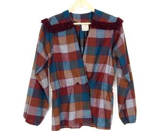 70's Plaid Deep V Wool Blouse with Fringe