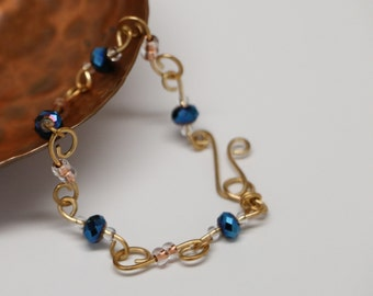 Blue and Gold wire beaded bracelet