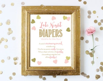 Pink and Gold Baby Shower Games Printable . Late Night Diapers 8x10 . Pink and Gold Baby Shower Girl . Pink and Gold Glitter Hearts Confetti
