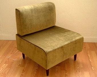 Bokz  Lounge Chair Eames Era Mid Century Classic Design OLIVE VELVET