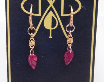 hand carved genuine ruby leaves earrings with 18KY filigree on 14KY gold french ear wires