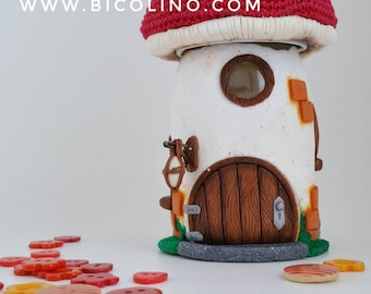 Pins Holder / Fairy House / Mushroom house with a red Roof, Mushroom with fairy house - Unique, One of a Kind - Ready to Ship