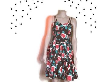 Laura Ashely prom dress / floral prom dress / ruffle puff dress ra-ra dress / ruffle strapless party dress / 90s Laura Ashley party dress