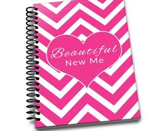 Beautiful New Me | Daily Food & Exercise Journal |90 Days Meal Activity Tracker |Become Beautiful |6 x 9 | Food Journal | Pink Zig Zag
