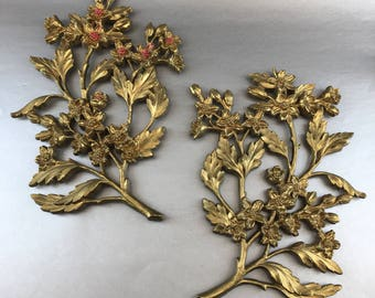 Pair of Rare Mid Century Syrococ 1967 Gold Trees Wall Plaques Hanging