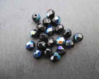 Faceted 6 mm: 20 jet black AB beads Bohemian