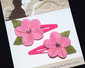 Tropical Pink Felt Flowers Snap Clips - Buy 3 Items, Get 1 Free