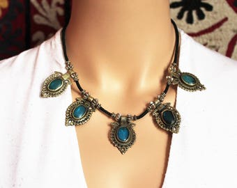 Tribal Necklace with Turquoise Waziri-Pendants, Vintage, Hippie, Boho, Bellydance, Tribal Fusion, Necklace, Nomad Jewelry