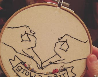 Grow A Pair Feminist Embroidery