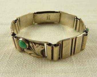 SALE ---- Vintage Art Nouveau Denmark .830 Silver Amazonite C.A. Christensen Bracelet
