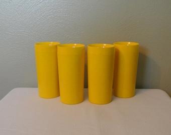 70s Thermo-Serv Insulated Tumblers, Banana Yellow!