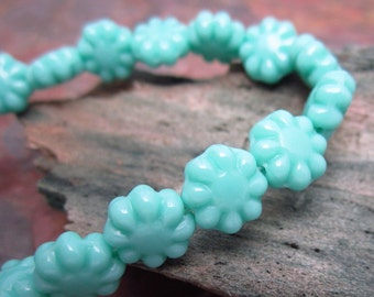 Turquoise Blue Czech Glass Flowers