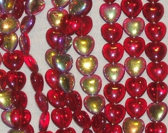 HEARTS AFIRE puffy 8mm RUBY red ab Czech Glass (12)