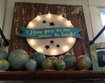 Big Love you to the Moon & Back Marquee Vintage Inspired…. Home Love Baby Nursery Wedding Anniversary Room