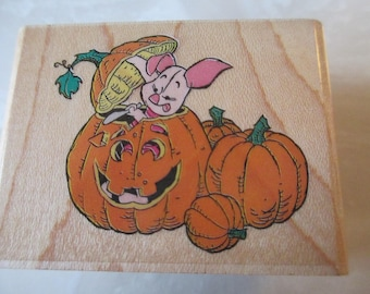 "Rubber Stampede "" Piglet Pumpkins"" For scrapbooking  Slightly used good condition"