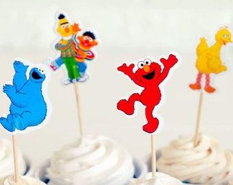 READY To SHIP Elmo Inspired Cupcake Toppers, Toppers, Picks, Cake Toppers, Cake Topper Pick, Cupcake Picks, Birthday