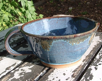 Stoneware batter bowl in blue
