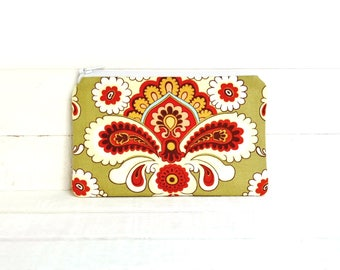 Small Zipper Pouch, Coin Purse, Change Pouch, Women and Teens, Amy Butler, French Wallpaper in Green