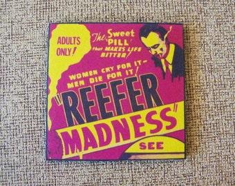 Reefer Madness coaster set retro vintage pot exploitation movie propaganda kitsch